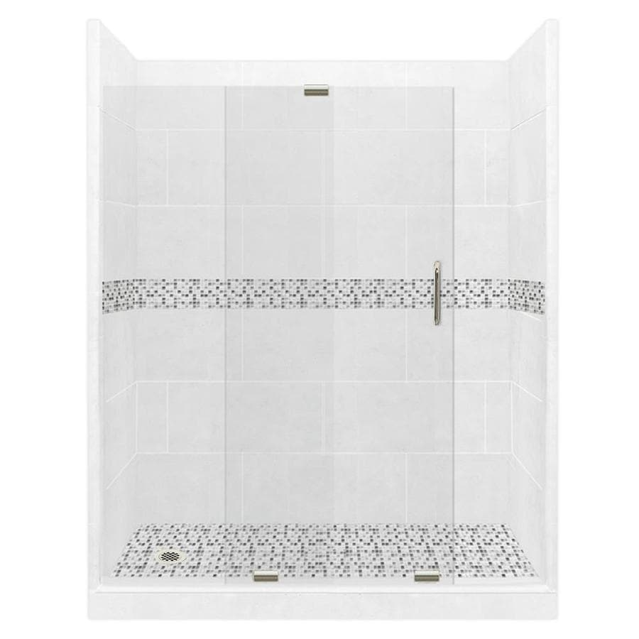 American Bath Factory Laguna Solid Surface Wall Stone Composite Floor 12-Piece Alcove Shower Kit (Common: 42-in x 60-in; Actual: 80-in x 42-in x 60-in)