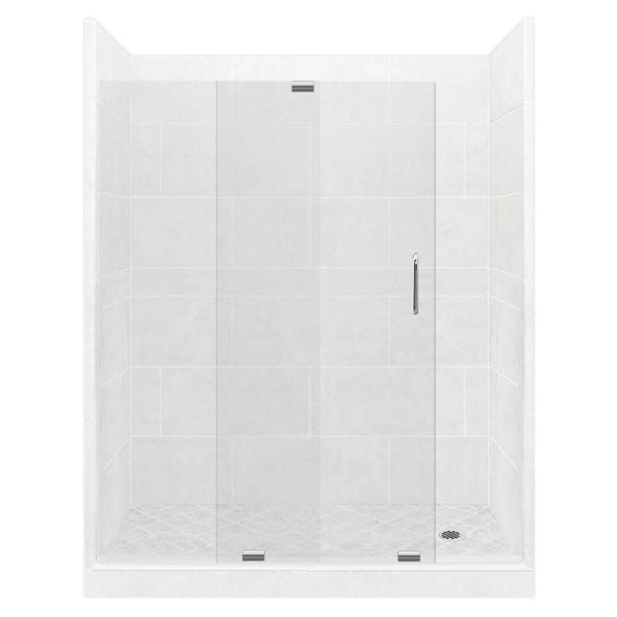 American Bath Factory Monterey Light Solid Surface Wall Stone Composite Floor 12-Piece Alcove Shower Kit (Common: 42-in x 60-in; Actual: 80-in X