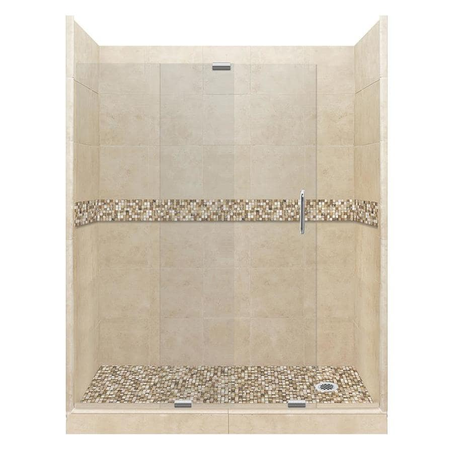 American Bath Factory Mesa Medium with Mesa Mosaic Tiles Solid Surface Wall Stone Composite Floor 12-Piece Alcove Shower Kit (Common: 42-in x 60-in; Actual: 80-in X