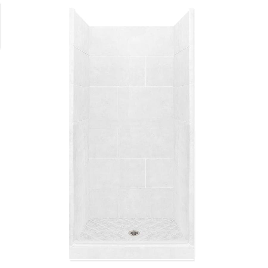 American Bath Factory Monterey Light Solid Surface Wall Stone Composite Floor 10-Piece Alcove Shower Kit (Common: 32-in x 36-in; Actual: 80-in X