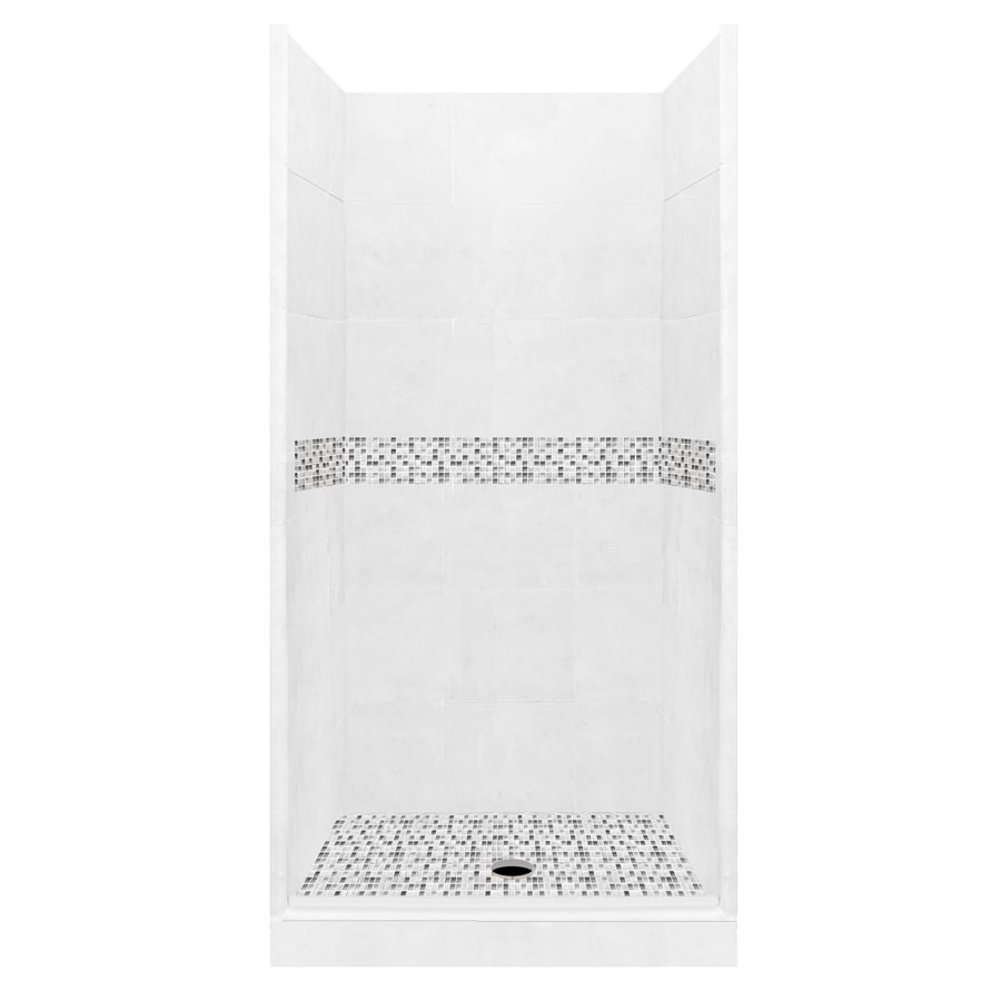 American Bath Factory Laguna Light with Laguna Mosaic Tiles Solid Surface Wall Stone Composite Floor 10-Piece Alcove Shower Kit (Common: 36-in x 36-in; Actual: 80-in X