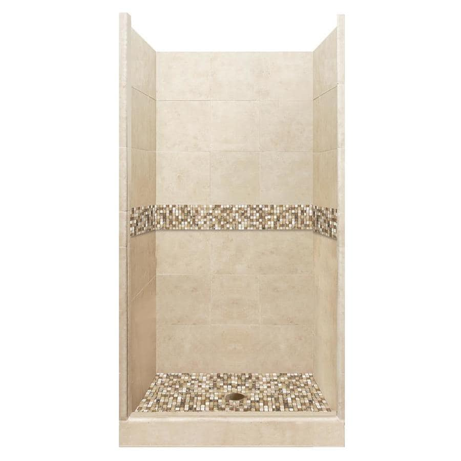 American Bath Factory Mesa Medium with Mesa Mosaic Tiles Solid Surface Wall Stone Composite Floor 10-Piece Alcove Shower Kit (Common: 36-in x 42-in; Actual: 80-in X