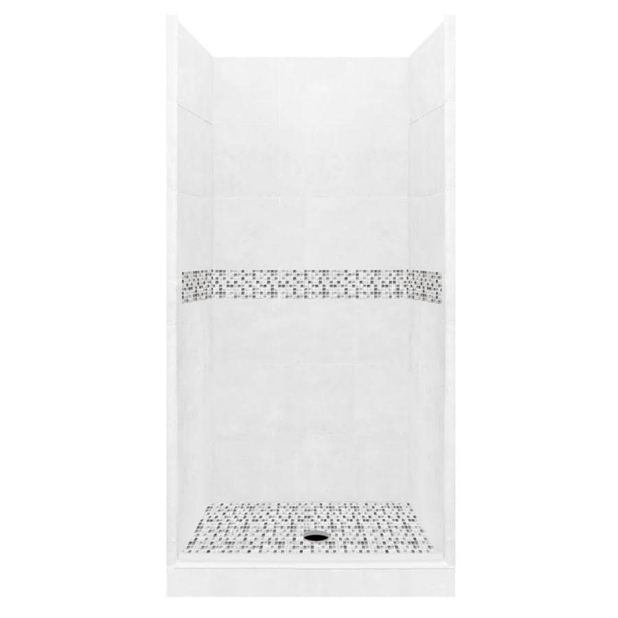 American Bath Factory Laguna Solid Surface Wall Stone Composite Floor 10-Piece Alcove Shower Kit (Common: 42-in x 42-in; Actual: 80-in x 42-in x 42-in)