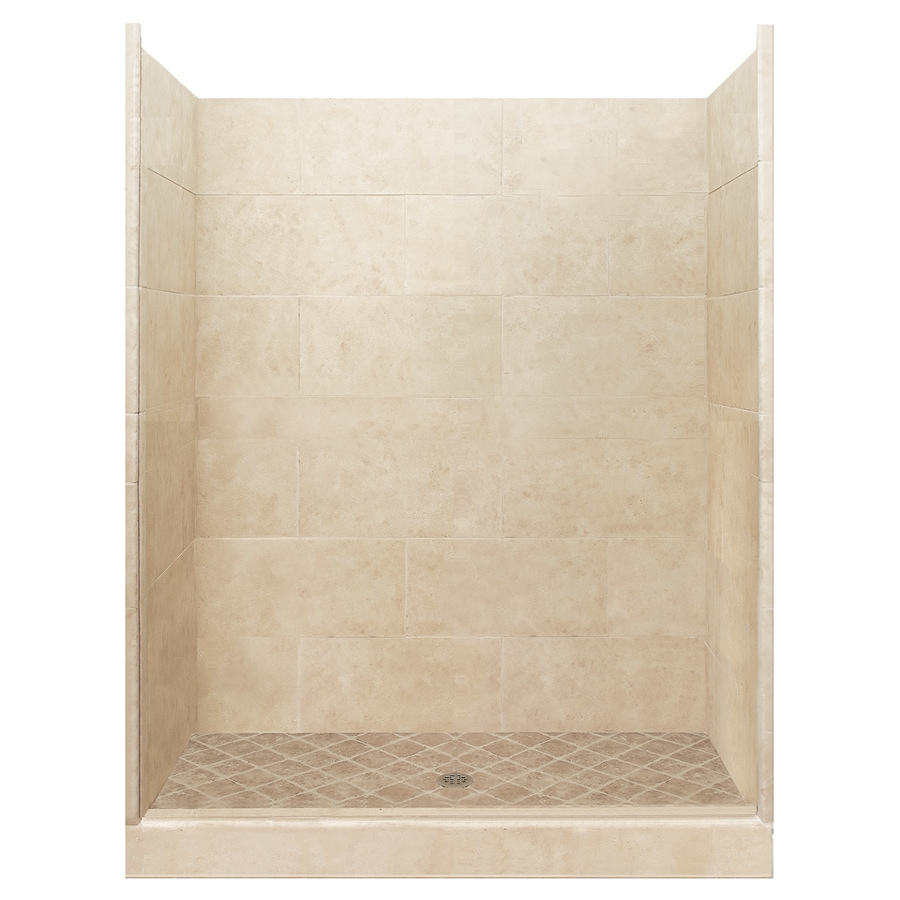 American Bath Factory Sonoma Medium Solid Surface Wall Stone Composite Floor 10-Piece Alcove Shower Kit (Common: 36-in x 48-in; Actual: 80-in X