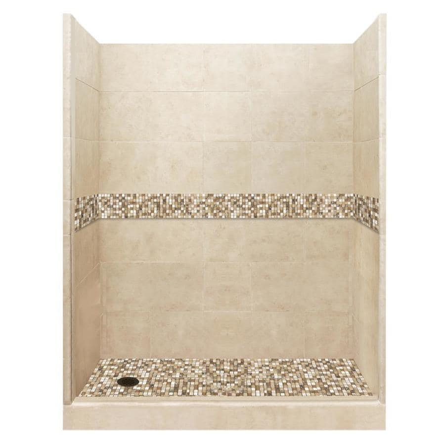 American Bath Factory Mesa Solid Surface Wall Stone Composite Floor 10-Piece Alcove Shower Kit (Common: 30-in x 60-in; Actual: 80-in x 30-in x 60-in)