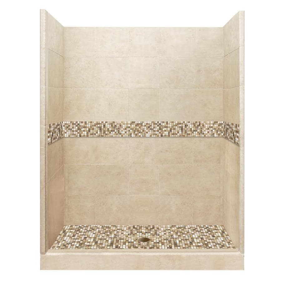 American Bath Factory Mesa Medium with Mesa Mosaic Tiles Solid Surface Wall Stone Composite Floor 10-Piece Alcove Shower Kit (Common: 30-in x 60-in; Actual: 80-in X