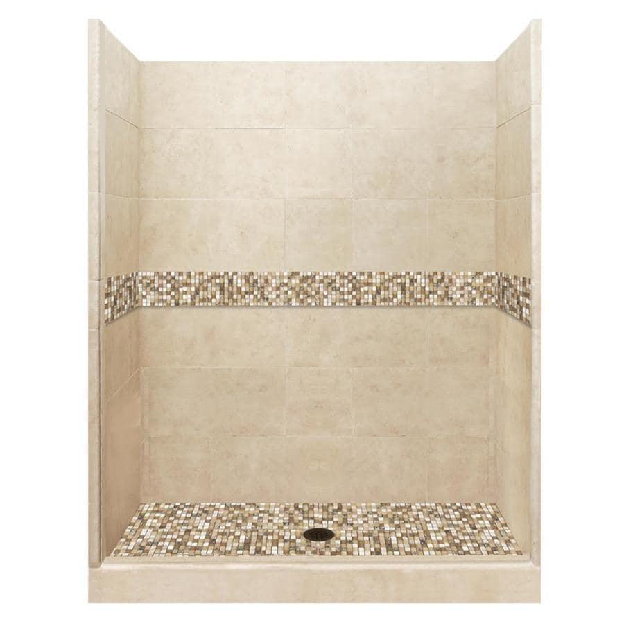 American Bath Factory Mesa Medium with Mesa Mosaic Tiles Solid Surface Wall Stone Composite Floor 10-Piece Alcove Shower Kit (Common: 32-in x 60-in; Actual: 80-in X