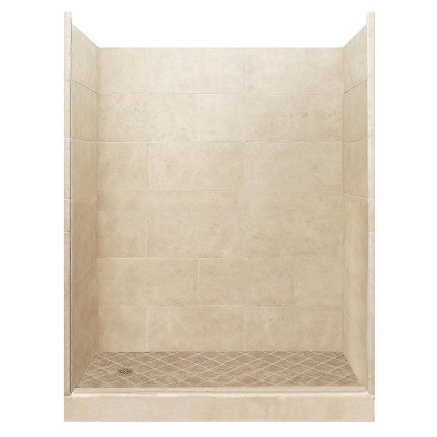 American Bath Factory Sonoma Medium Solid Surface Wall Stone Composite Floor 10-Piece Alcove Shower Kit (Common: 32-in x 60-in; Actual: 80-in X