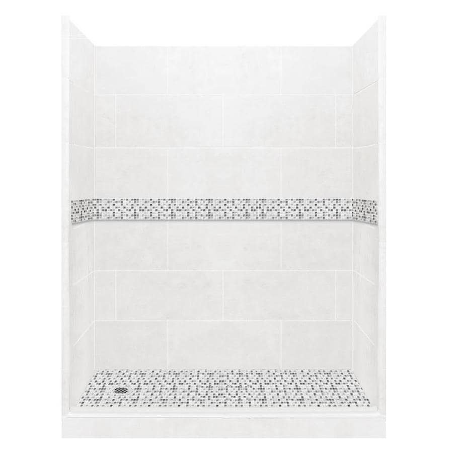 American Bath Factory Laguna Light with Laguna Mosaic Tiles Solid Surface Wall Stone Composite Floor 10-Piece Alcove Shower Kit (Common: 32-in x 60-in; Actual: 80-in X