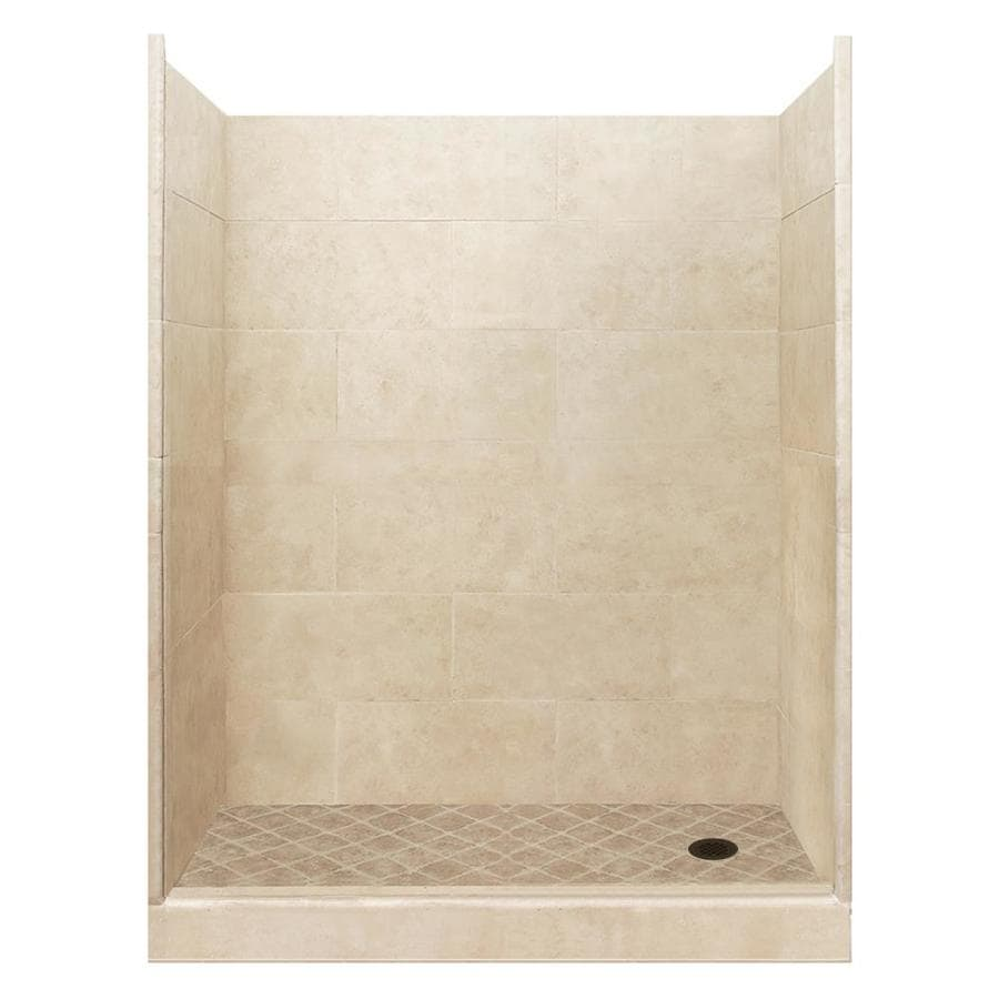 American Bath Factory Sonoma Medium Solid Surface Wall Stone Composite Floor 10-Piece Alcove Shower Kit (Common: 32-in x 60-in; Actual: 80-in x 32-in x 60-in)