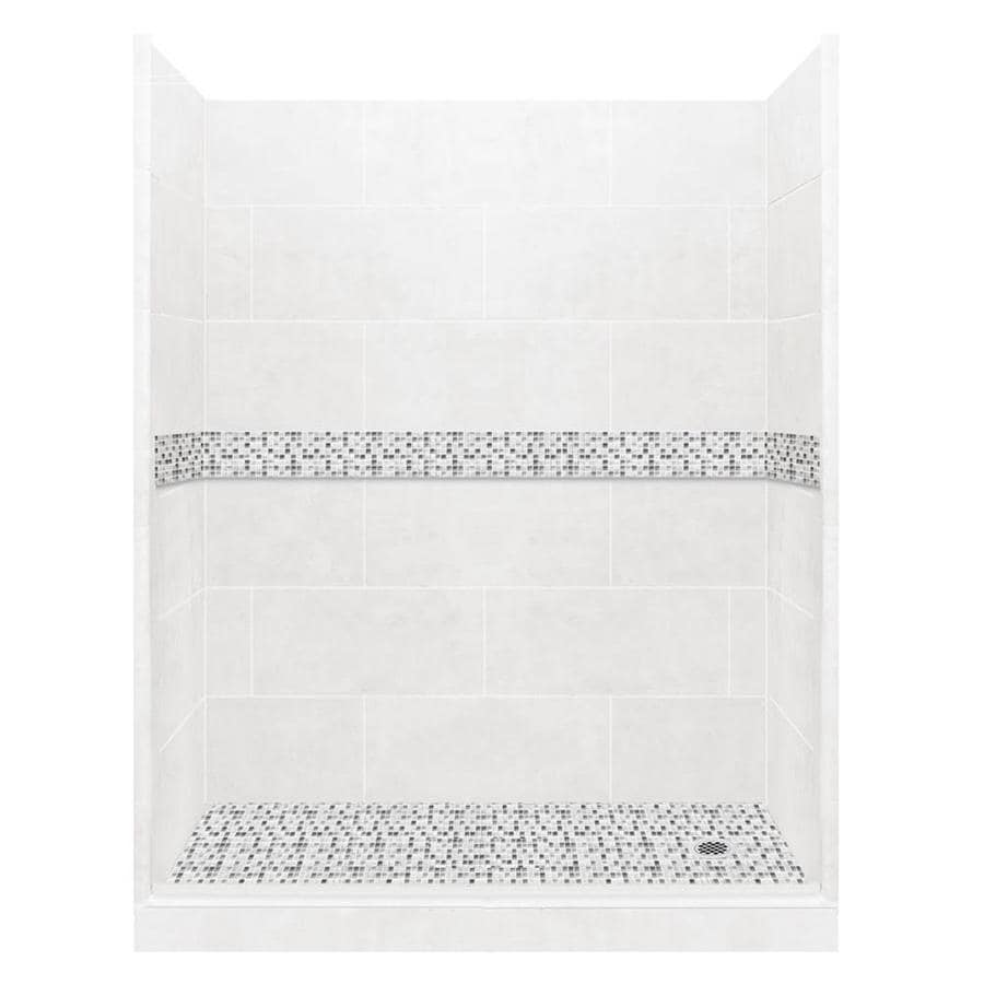 American Bath Factory Laguna Solid Surface Wall Stone Composite Floor 10-Piece Alcove Shower Kit (Common: 32-in x 60-in; Actual: 80-in x 32-in x 60-in)
