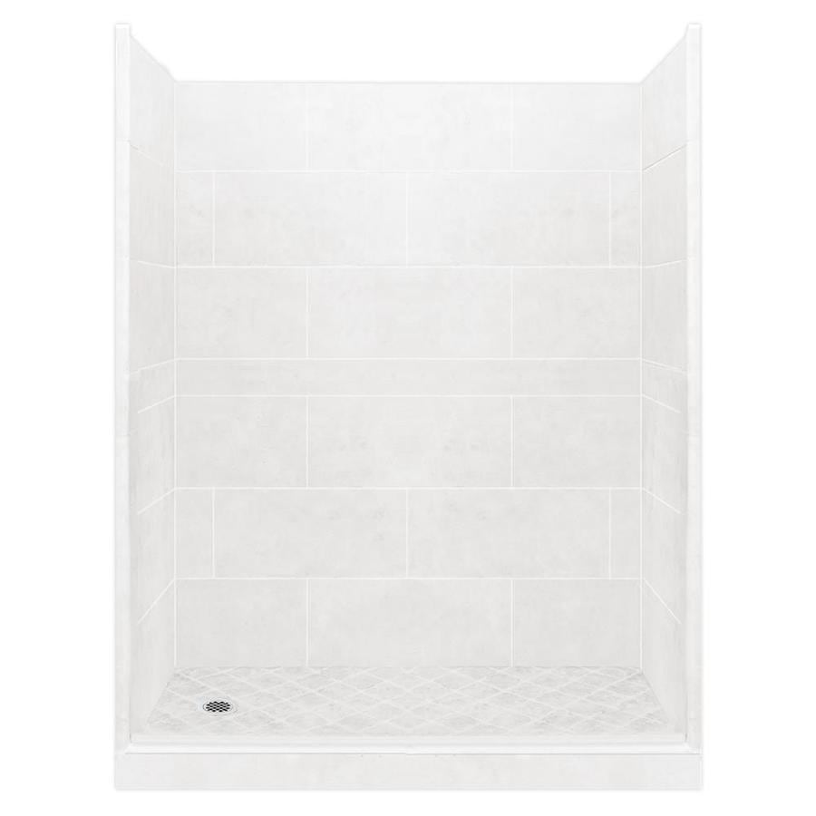 American Bath Factory Monterey Light Solid Surface Wall Stone Composite Floor 10-Piece Alcove Shower Kit (Common: 34-in x 60-in; Actual: 80-in X