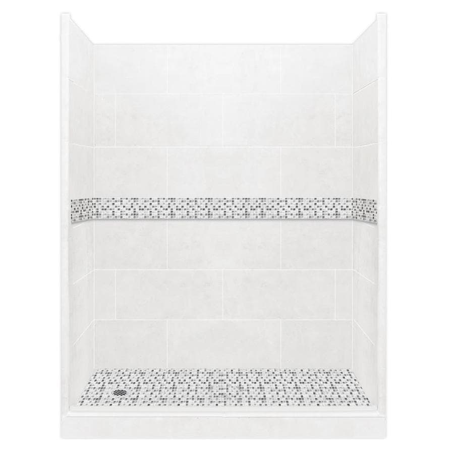 American Bath Factory Laguna Light with Laguna Mosaic Tiles Solid Surface Wall Stone Composite Floor 10-Piece Alcove Shower Kit (Common: 34-in x 60-in; Actual: 80-in X