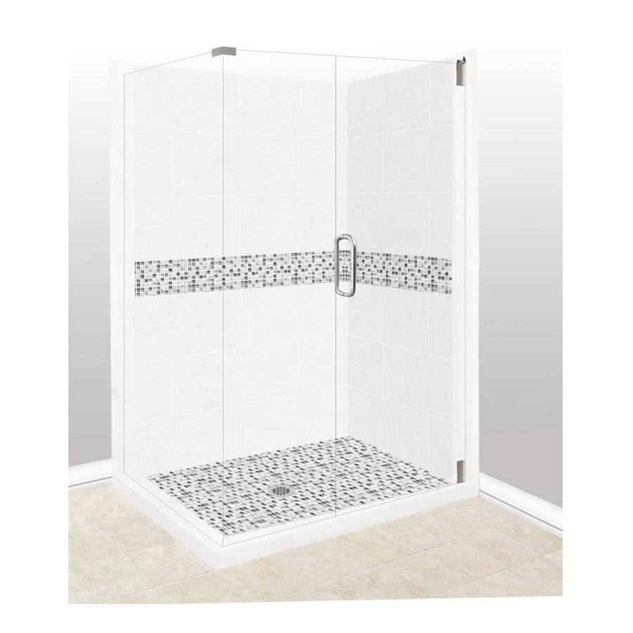 American Bath Factory Laguna Light with Laguna Mosaic Tiles Sistine Stone Wall Stone Composite Floor Rectangle 10-Piece Corner Shower Kit (Actual: 80-in x 32-in x 36-in)