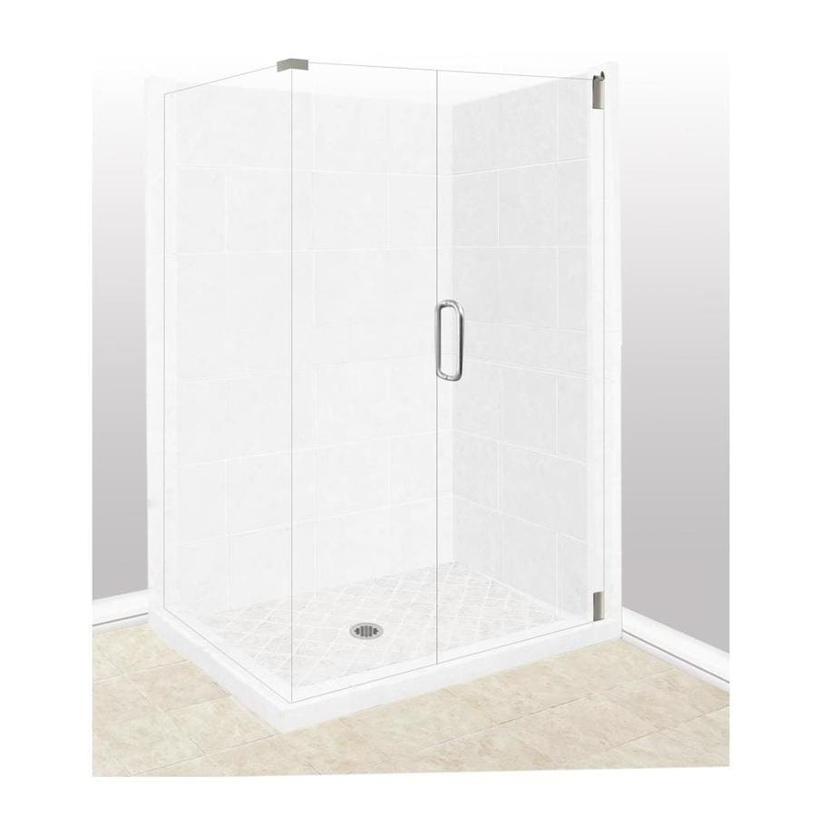 American Bath Factory Monterey Light Sistine Stone Wall Stone Composite Floor Rectangle 10-Piece Corner Shower Kit (Actual: 80-in x 32-in x 36-in)