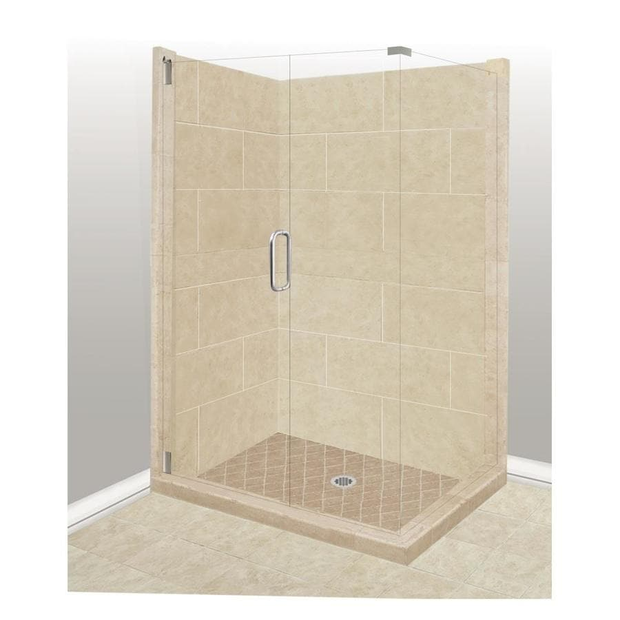 American Bath Factory Sonoma Sistine Stone Wall Stone Composite Floor Rectangle 10-Piece Corner Shower Kit (Actual: 80-in x 32-in x 36-in)