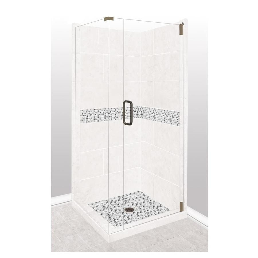 American Bath Factory Laguna Light with Laguna Mosaic Tiles Sistine Stone Wall Stone Composite Floor Rectangle 10-Piece Corner Shower Kit (Actual: 80-in x 36-in x 36-in)