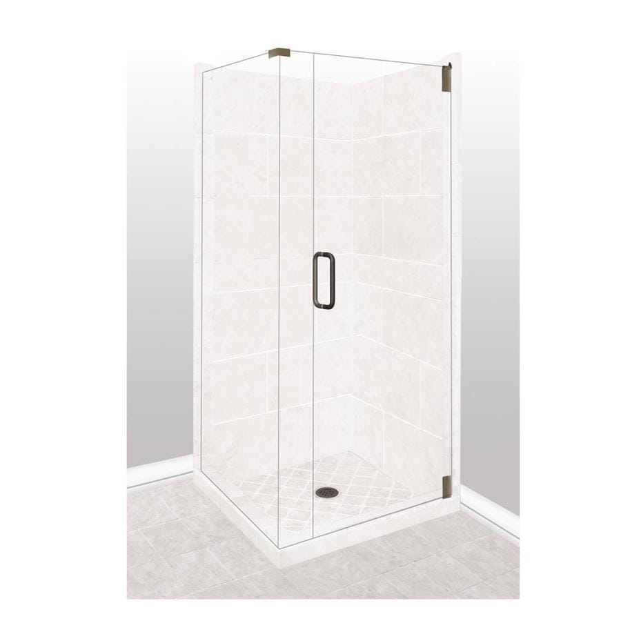 American Bath Factory Monterey Light Sistine Stone Wall Stone Composite Floor Rectangle 10-Piece Corner Shower Kit (Actual: 80-in x 36-in x 36-in)