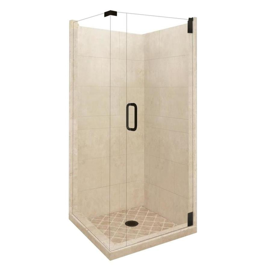 American Bath Factory Sonoma Sistine Stone Wall Stone Composite Floor Rectangle 10-Piece Corner Shower Kit (Actual: 80-in x 36-in x 36-in)