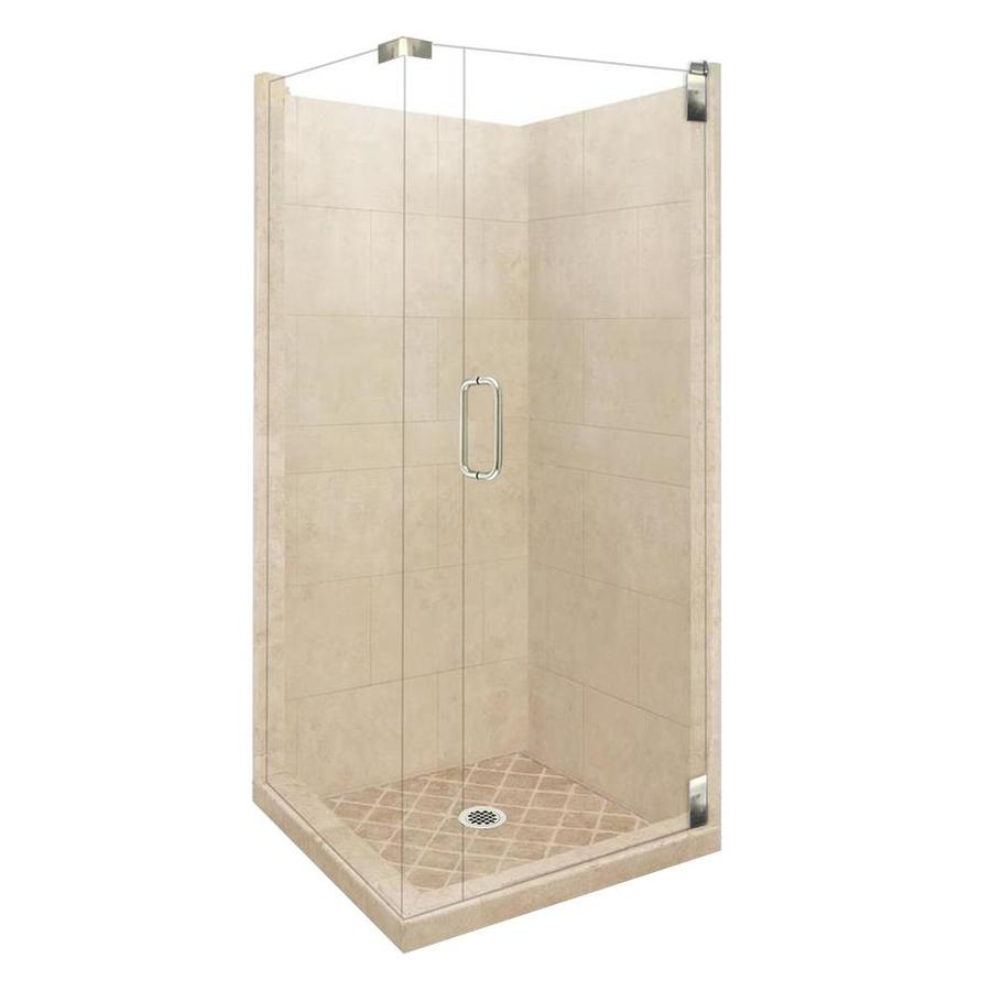36 x 36 corner shower kit. american bath factory sonoma sistine stone wall composite floor rectangle 10-piece corner shower 36 x kit