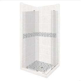 American Bath Factory Laguna Sistine Stone Wall Stone Composite Floor  Rectangle 11 Piece Corner Shower