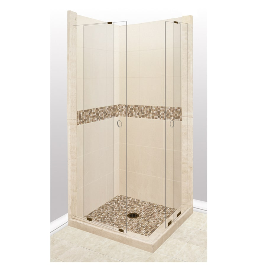 American Bath Factory Mesa Sistine Stone Wall Stone Composite Floor Rectangle 11-Piece Corner Shower Kit (Actual: 80-in x 38-in x 38-in)