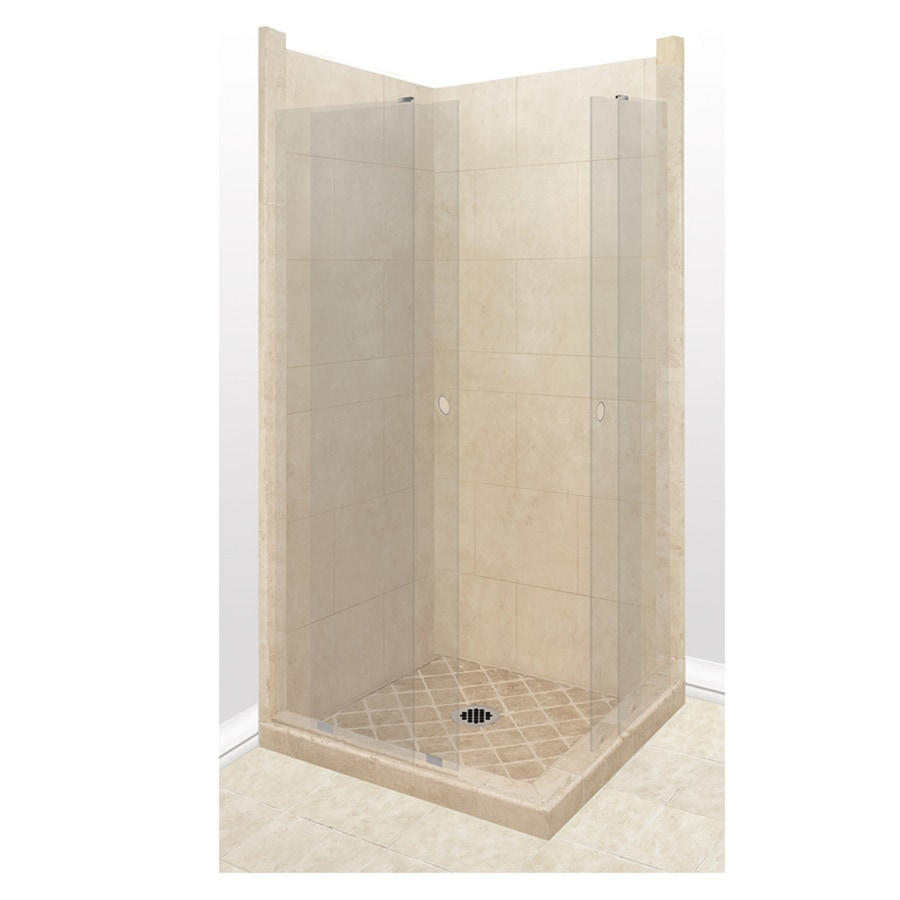 American Bath Factory Sonoma Sistine Stone Wall Stone Composite Floor Rectangle 11-Piece Corner Shower Kit (Actual: 80-in x 38-in x 38-in)