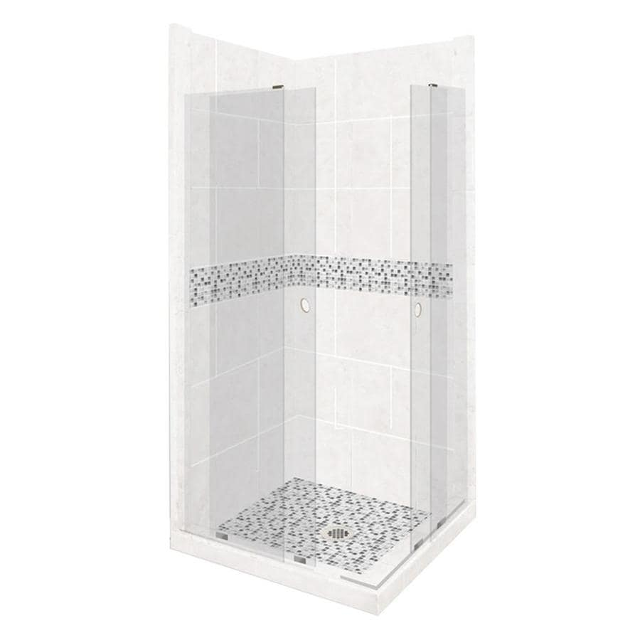 American Bath Factory Laguna Sistine Stone Wall Stone Composite Floor Rectangle 11-Piece Corner Shower Kit (Actual: 80-in x 38-in x 38-in)