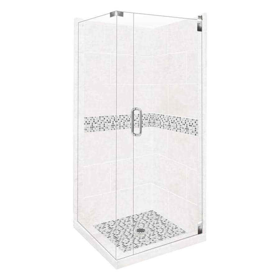 American Bath Factory Laguna Sistine Stone Wall Stone Composite Floor Rectangle 10-Piece Corner Shower Kit (Actual: 80-in x 42-in x 42-in)