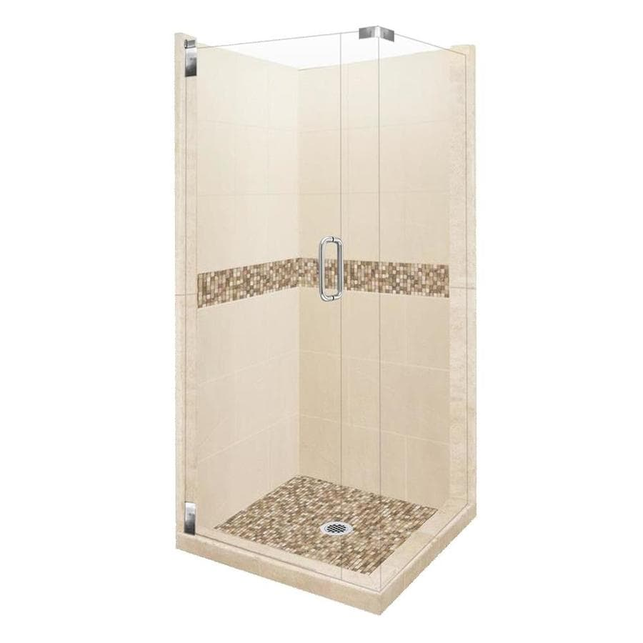 American Bath Factory Mesa Sistine Stone Wall Stone Composite Floor Rectangle 10-Piece Corner Shower Kit (Actual: 80-in x 42-in x 42-in)