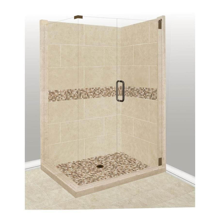 American Bath Factory Mesa Sistine Stone Wall Stone Composite Floor Rectangle 10-Piece Corner Shower Kit (Actual: 80-in x 36-in x 42-in)