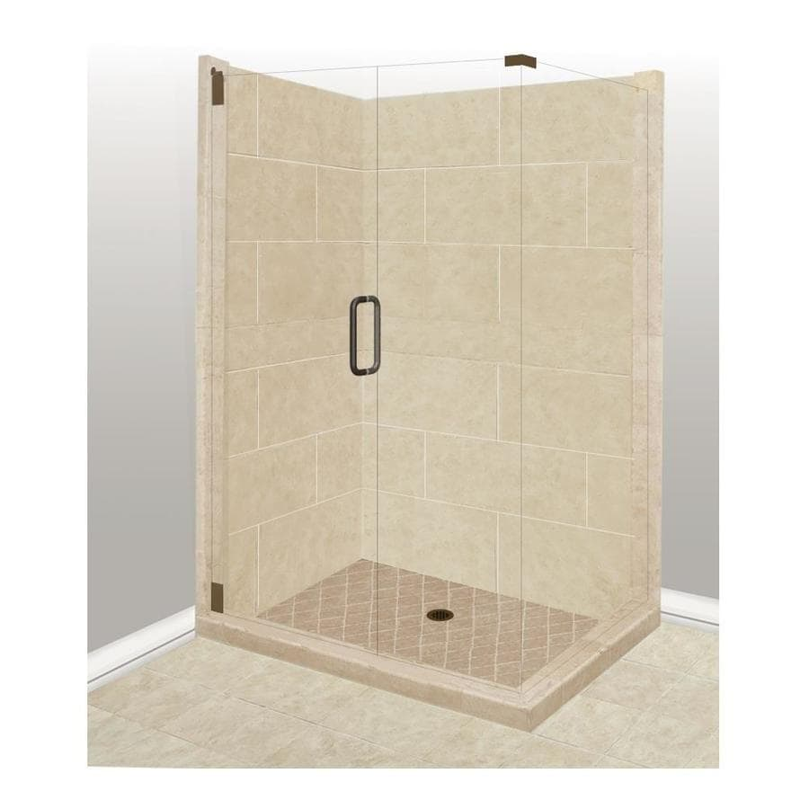 American Bath Factory Sonoma Sistine Stone Wall Stone Composite Floor Rectangle 10-Piece Corner Shower Kit (Actual: 80-in x 36-in x 42-in)