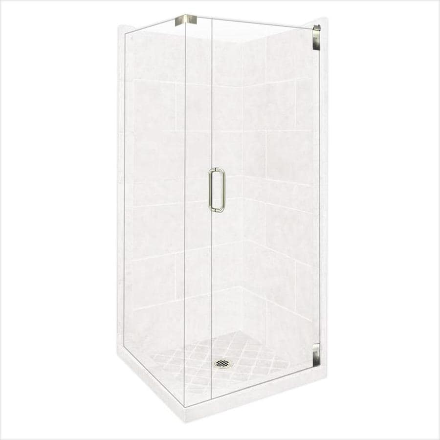 American Bath Factory Monterey Light Sistine Stone Wall Stone Composite Floor Rectangle 10-Piece Corner Shower Kit (Actual: 80-in x 42-in x 42-in)