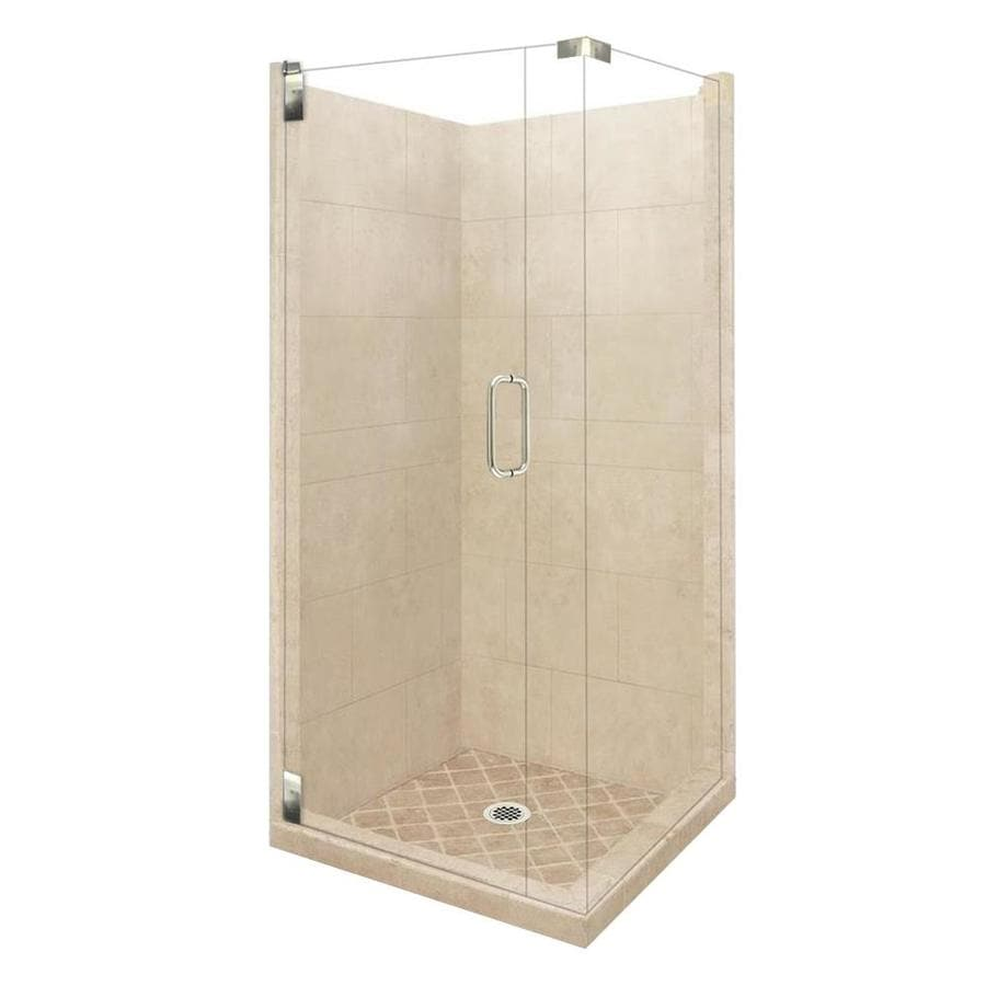 American Bath Factory Sonoma Sistine Stone Wall Stone Composite Floor Rectangle 10-Piece Corner Shower Kit (Actual: 80-in x 42-in x 42-in)