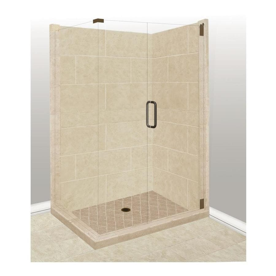 American Bath Factory Sonoma Sistine Stone Wall Stone Composite Floor Rectangle 10-Piece Corner Shower Kit (Actual: 80-in x 42-in x 48-in)