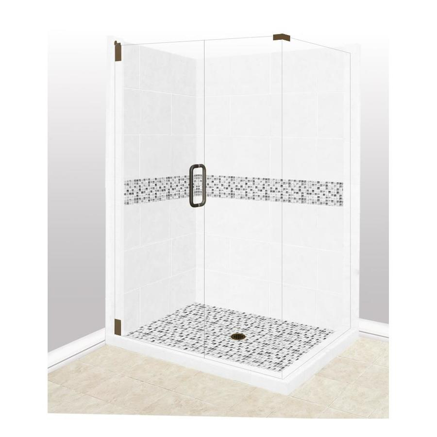 American Bath Factory Laguna Light with Laguna Mosaic Tiles Sistine Stone Wall Stone Composite Floor Rectangle 10-Piece Corner Shower Kit (Actual: 80-in x 42-in x 48-in)
