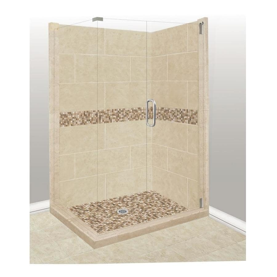 American Bath Factory Mesa Sistine Stone Wall Stone Composite Floor Rectangle 10-Piece Corner Shower Kit (Actual: 80-in x 36-in x 48-in)