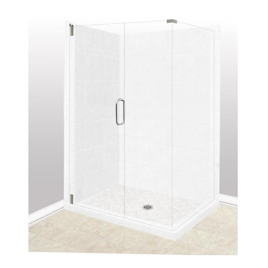American Bath Factory Monterey Light Sistine Stone Wall Stone Composite Floor Rectangle 10-Piece Corner Shower Kit (Actual: 80-in x 36-in x 48-in)