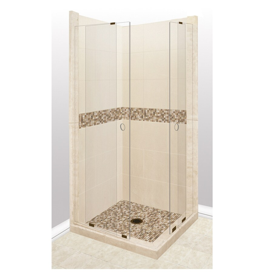 American Bath Factory Mesa Sistine Stone Wall Stone Composite Floor Rectangle 11-Piece Corner Shower Kit (Actual: 80-in x 36-in x 36-in)