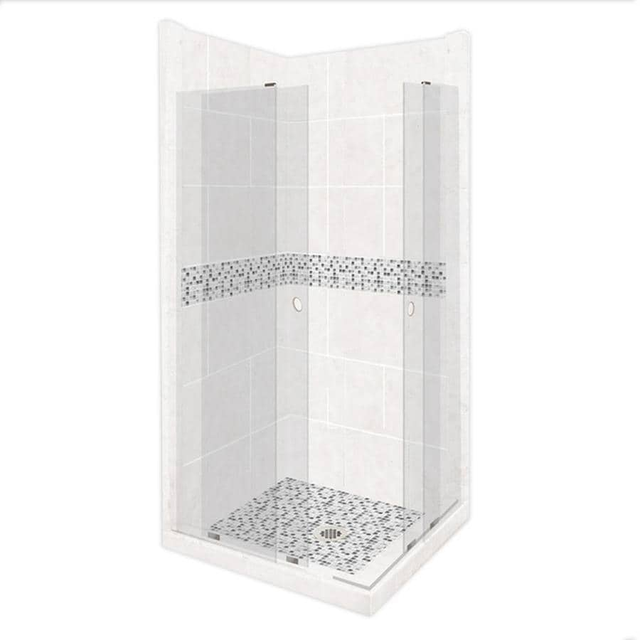 American Bath Factory Laguna Sistine Stone Wall Stone Composite Floor Rectangle 11-Piece Corner Shower Kit (Actual: 80-in x 36-in x 42-in)