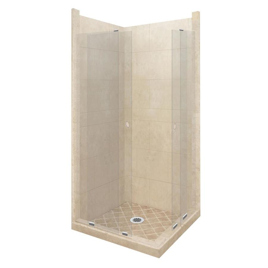 American Bath Factory Sonoma Sistine Stone Wall Stone Composite Floor Rectangle 11-Piece Corner Shower Kit (Actual: 80-in x 36-in x 42-in)