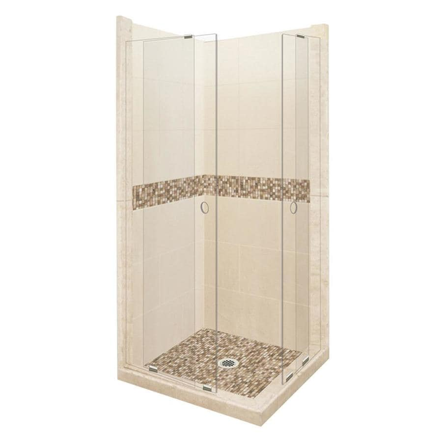 American Bath Factory Mesa Medium with Mesa Mosaic Tiles Sistine Stone Wall Stone Composite Floor Rectangle 11-Piece Corner Shower Kit (Actual: 80-in x 42-in x 42-in)