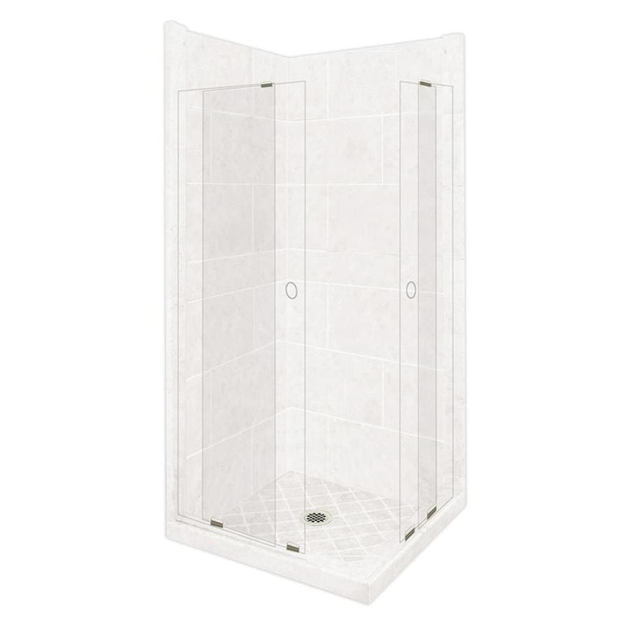 American Bath Factory Monterey Light Sistine Stone Wall Stone Composite Floor Square 11-Piece Corner Shower Kit (Actual: 80-in x 42-in x 42-in)