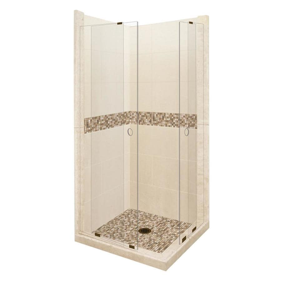 American Bath Factory Mesa Sistine Stone Wall Stone Composite Floor Rectangle 11-Piece Corner Shower Kit (Actual: 80-in x 36-in x 48-in)