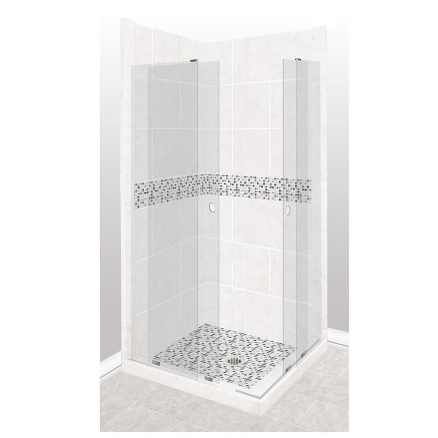 American Bath Factory Laguna Sistine Stone Wall Stone Composite Floor Rectangle 11-Piece Corner Shower Kit (Actual: 80-in x 42-in x 48-in)