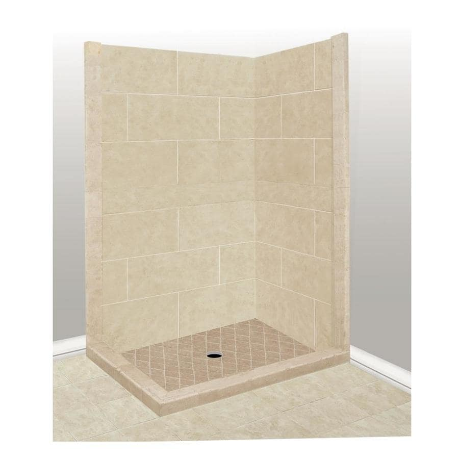 American Bath Factory Sonoma Sistine Stone Wall Stone Composite Floor Rectangle 7-Piece Corner Shower Kit (Actual: 80-in x 32-in x 36-in)