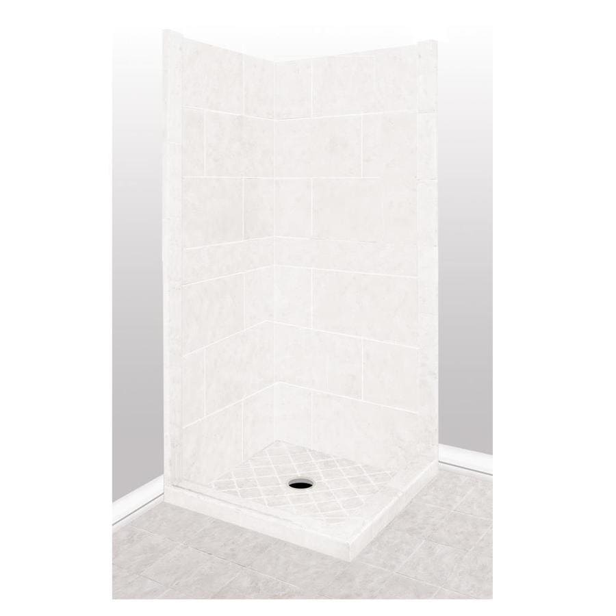 American Bath Factory Monterey Light Sistine Stone Wall Stone Composite Floor Rectangle 7-Piece Corner Shower Kit (Actual: 80-in x 36-in x 36-in)