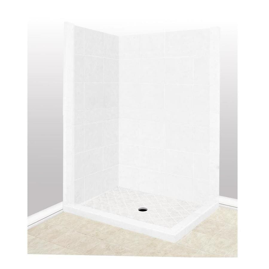 American Bath Factory Monterey Light Sistine Stone Wall Stone Composite Floor Rectangle 7-Piece Corner Shower Kit (Actual: 80-in x 36-in x 42-in)