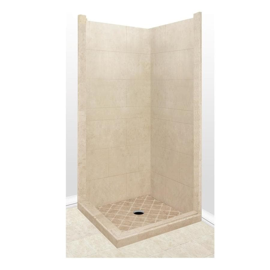 American Bath Factory Sonoma Sistine Stone Wall Stone Composite Floor Rectangle 7-Piece Corner Shower Kit (Actual: 80-in x 42-in x 42-in)