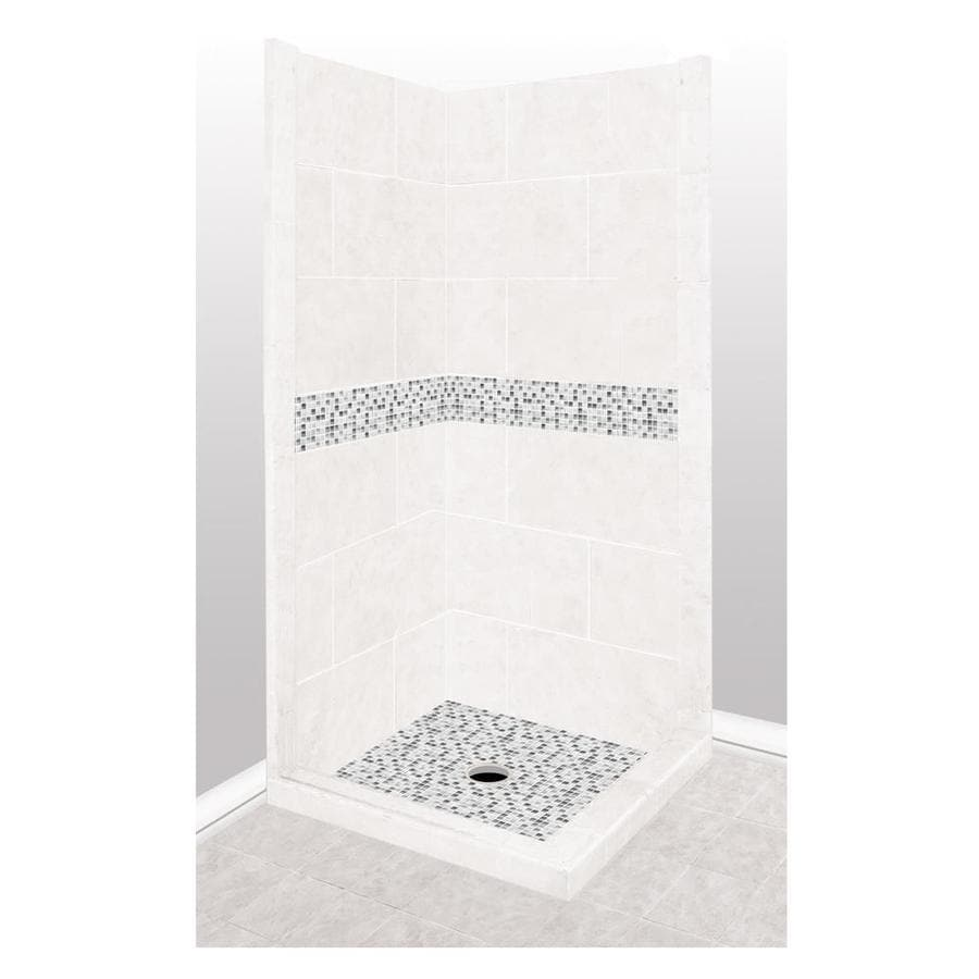 American Bath Factory Laguna Light with Laguna Mosaic Tiles Sistine Stone Wall Stone Composite Floor Rectangle 7-Piece Corner Shower Kit (Actual: 80-in x 42-in x 42-in)
